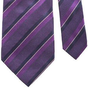 "MASSIMO BIZZOCCHI Woven Silk Necktie Purple Stripes 3-5/8"" x 60-5/8"" Italy"