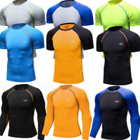 Men's Compression Tops Athletic Running Training Gym T-shirts Dri fit Base Layer