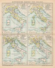 B6293 Carte soriche dell'ITALIA - Carta geografica antica del 1902 - Old map