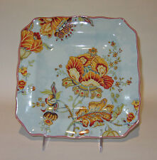 """222 Fifth GABRIELLE SPRING BLUE SQUARE 8 1/2"""" side SALAD PLATES SET of 6 Paisley"""