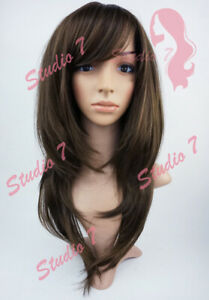 W151 Brown Long Layered Sythetic Wig - studio7-uk