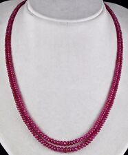 NATURAL UNTREATED RUBY BEADS ROUND 2 LINE 163 CTS GEMSTONE BEADS LADIES NECKLACE