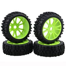 4pcs RC1:8 Off Road Car Rhombus Rubber Tire+Green Dual 6 Spoke Wheel Rim