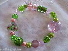 Armband grün-rosa dehnbar Metall, Glas u. Porzellan
