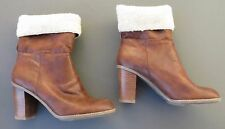 Nickels Boots Cognac Elise Brown Stacked Heel Synthetic Man-made 9 M