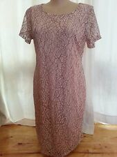 PINK Blush Plum floral Party lace over lined short sleeve DRESS size 22 NEW