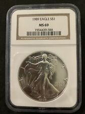 1989 American SILVER EAGLE NGC MS 69 Dollar Coin #388