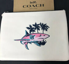 COACH LARGE LEATHER POUCH SHARK MOTIF CHALK MULTI $195 F29268 New