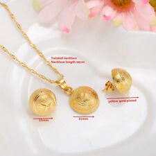 Dubai necklace mushroom pendant earrings sets 14k Real Solid gold GF jewellery