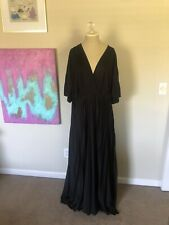 Asos Curve Black Pleated Maxi Formal Gown Dress Size 18 NWT