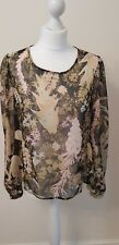 NEW River Island Womens Green/Black Floral Chiffon Top - UK 14
