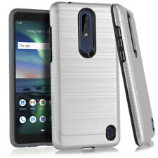 For Nokia 3.1 Plus (Cricket) Hard Hybrid Armor Impact Case Cover Silver Brushed