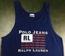 Vintage Mens M 90s Ralph Lauren Polo Jeans Flag Sleeveless Blue Hip Hop Tank Top