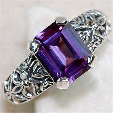 Fashion Women 925 Silver Amethyst Rings Wedding Marriage Engagement Size 8