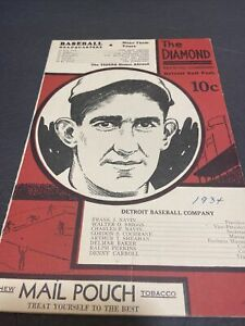 1934  DETROIT TIGERS VS YANKEES SCORECARD~COCHRANS COVER~RUTH & GEHRIG IN LINEUP