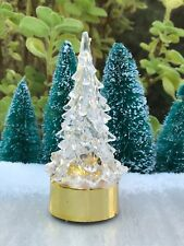 "Mini 3¾"" LED Color Changing Light Winter CHRISTMAS Tree Gold Base Village Putz"