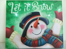 Let it Snow Snowman Picture on Canvas w Led Lights Wall Art Christmas Decor