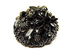NUOVO Stile Gotico Nero Cristallo Fiore SPILLA DI FILIGRANA TONDO in confezione regalo