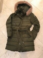 Escada Sport Puffer Coat W Removable Hood & Fur Trim Military Green Size 34