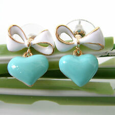 Navachi Bowknot Heart Love 18K GP White-Blue Enamel Ear Stud Earrings BH2893