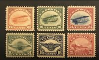 SC# C1-C6 LOT OF SIX UNUSED OG MNH AIRMAIL STAMPS 6C, 8C, 16C & 24C, 1918 & 1923