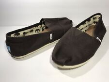 Toms Mens Brown Canvas Slip On Shoes Size 13