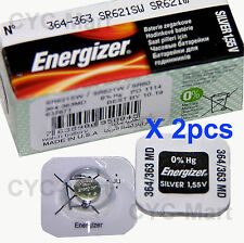 2 pcs Energizer 364 SR621SW Silver Oxide Watch Battery Made in USA FREE POST WW