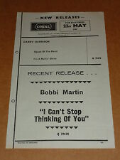 Bobbi Martin 1965 Coral Records Release Sheet + Radio Luxembourg Programme List