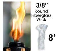 3/8 Round Fiberglass Wick 8 Feet Kerosene Lamp Tiki Torch Bottle Oil Candle USA