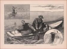 FISHING for CATFISH, Rowboat, Missouri River, ANTIQUE ENGRAVING ORIGINAL 1890