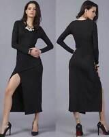 Women Celebrity Long Sleeve Dress Bodycon Maxi Full 8-16 Open Leg Cocktail Party