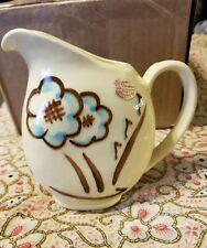 USA Shawnee Pottery pitcher aqua blue brown flowers  5 3/4 inch USA 35