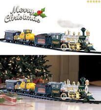 Train Set Around The Christmas Pine Tree With Smoke Music Lights Gift Ornament !