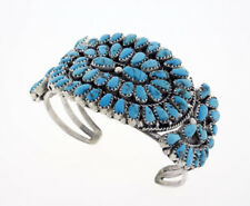 Natural Sleeping Beauty Turquoise Petit Point Cluster Bracelet