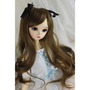"""[wamami] 1/3 Dark Flax Long Wave Wig&Knot For SD AOD DOD DZ BJD Dollfie 8""""-9"""""""