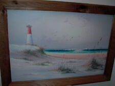 Framed Oil on Canvas Seascape Lighthouse Seagulls Painting Signed Winston