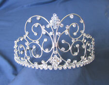Large Silver Crystal TIARA Bride BRIDAL WEDDING Princess Bridesmaid Quinceañera