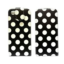 CASE FOR APPLE IPHONE 5 5S SE FLIP PU LEATHER POLKA DOT STYLE BLACK POUCH COVER