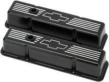 BILLET SPECIALTIES CHEVY BOWTIE BLACK ALUMINUM SBC TALL VALVE COVERS,BOW TIE
