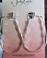 Jody Coyote Earrings JC0413 New hypoallergenic silver hoop oval HH264S