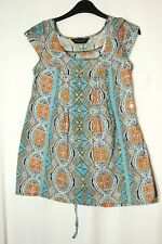 BLUE WHITE ORANGE FLORAL PAISLEY LADIES CASUAL TOP BLOUSE SIZE 6 DOROTHY PERKINS