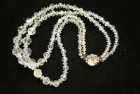 "Aurora Borealis Crystal Necklace 2-Strand Graduated Bead 16"" 40cm Vintage"