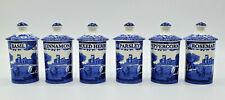 Spode ~ Blue Italian ~ 6-Piece Set ~ Spice Jars with Lids ~ Brand New