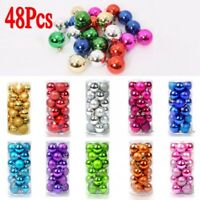 24/48Pcs Glitter Christmas Balls Baubles Xmas Tree Hanging Ornament Decor