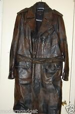 SUPER GORGEOUS !! JOHN VARVATOS  MEN LONG LEATHER TRENCH COAT/JACKET EU 50 US 40