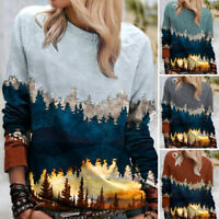 Women Mountain Forest Print Tops Shirt Ladies Long Sleeve Casual Blouse T-Shirt