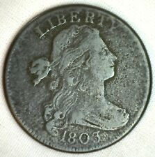 1803 Draped Bust Copper Large Cent Early Penny Type Coin S251 Fine M39