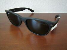 NEW RAYBAN $193 NEW WAYFARER BLACK MATTE GREEN POLARIZED SUNGLASSES 2132 !!!