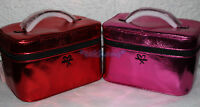 NWT Victoria's Secret Metallic Crackle Weekender Train Case Makeup Bag Red Pink