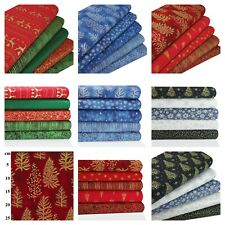 CHRISTMAS FABRIC 100% COTTON Trees Snowflakes Reindeer BUNDLES Red Green Gold